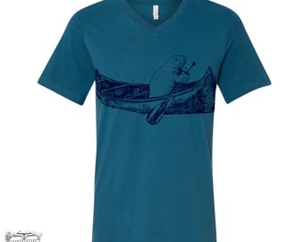 Unisex V-Neck MANATEE in a Canoe  xs s m l xl xxl (+ Colors Available)