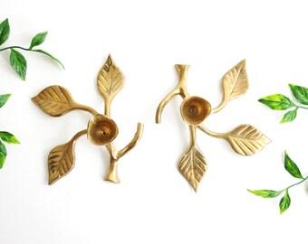 Vintage Brass Candlesticks / Pair of Leafy Branch Brass Candlesticks / Mid Century Brass / Mid Century Leaf Candlesticks