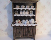 Dollhouse hutch SALE  dark oak dresser  miniature dresser kitchen  dresser  Filled dresser  Kitchen Hutch small hutch  twelfth scale