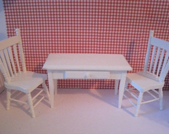 Dollhouse Miniature chairs set, SALE dollhouse chairs, white set of chairs, twelfth scale, table and chairs, a dollhouse miniature