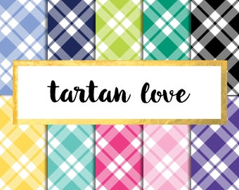 Buy2Get1Free with Code XMASINJULY! Tartan Love Digital Paper Pack (Instant Download)
