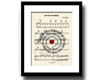 Maybe I'm Amazed Song Lyric Sheet Music Art Print, Paul McCartney, Song Lyric Art, Beatles Music, First Dance,Spiral Lyric, Names and Date