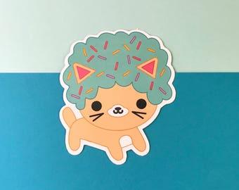 Afro Cat Mint Sprinkles Vinyl Sticker