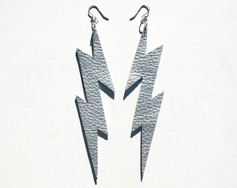 Leather Lightning Bolts Large - Metallic Silver Leather with Sterling Silver