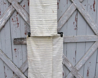 Set of 3 - blue and white striped feed sack feedsacks