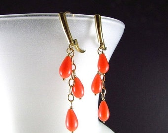 25OFF Coral and Gold Filled Dangle Earrings