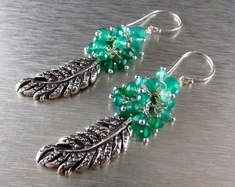 25OFF Green Onyx With Sterling Silver Leaf Charm Dangle Earrings