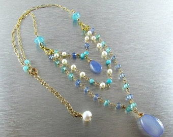 20 Off Triple Strand Perwinkle Blue And Aqua Blue Chalcedony, Freshwater Pearl,Amazonite Gold Filled Necklace