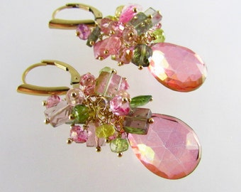 20 Off Pink Quartz and Watermelon Tourmaline Cluster Gold Filled Lever Back Earrings