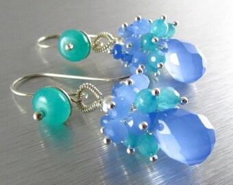 25% Off Periwinkle Blue Cluster Sterling Silver Earrings