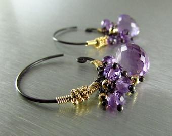 Amethyst Hoop Swirl Earrings