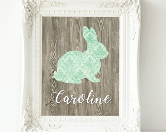 Mint gray nursery decor baby girl nursery wall art nursery prints personalized baby custom bunny art woodland nursery art personalized gift