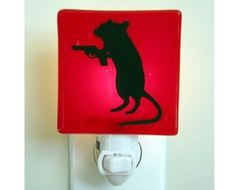 Funny Gift - Gerbil Night Light - Hand Painted Fused Glass