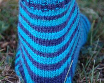 Studio June Yarn Super Cash Sock - Cashmere, Superwash Merino, Nylon Color: If The Ocean Had Stripes