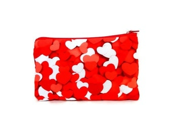 Heart Coin Purse, Change Pouch, Zipper Pouch, Fabric Pouch, Pouch, Cute Pouch, Valentine's Day Pouch, Gift, Red Hearts Zipper Pouch, Case