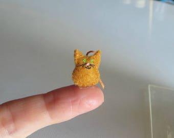 Orange Cat micro miniature felt stuffed animal plush toy - collectible and dollhouse toy