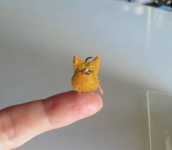 Orange Cat micro miniature felt stuffed animal plush toy - collectible and dollhouse toy