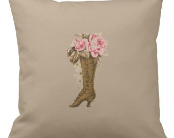Victorian Boot Romantic Pillow