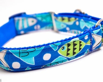 Fish Dog Collar / Fishtail in Blue / Martingale or Buckle / Beach Dog Collar