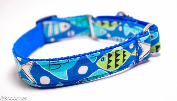 Items similar to fish dog collar fishtail in blue for Fish dog collar