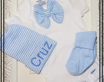 INFANT Boy Coming Home Outfit with matching hat and socks, monogrammed Infant hospital hat, Baby shower Gift, Newborn Hospital Hat Beanie