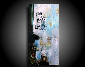 Inspirational Art Motivational Painting LIVE LAUGH LOVE quote art Encaustic Art Small Abstract Painting Home Decor