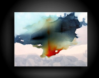 Large Colorful Abstract Painting Alcohol Ink Original Painting Modern Canvas Wall Art 16 x 12 Zen Painting Gray Navy Burnt Orange Art
