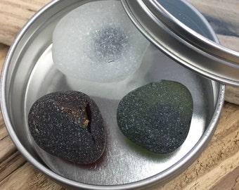 Maine Beach Sea Glass Magnets in Tin