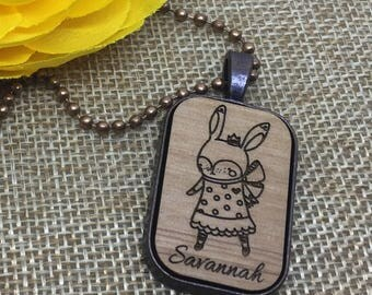 Easter-Necklace-Sassy-Bunny-Necklace-Easter-Gift-Personalized-Engraved  Necklace Pendant -  Bunny Pendant