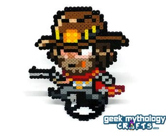 McCree Overwatch - Perler Bead Sprite Pixel Art Figure Stand or Lanyard Necklace