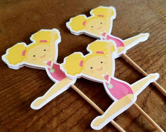 Gymnastics Girls Party - Set of 12 Blonde Gymnast Girl Cupcake Toppers by The Birthday House