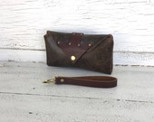 Black & Brown Distressed Leather Smartphone Wallet, Wristlet, Clutch, Small Purse