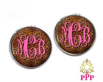 Cheetah Monogram Earrings, Monogram Stud Earrings, Monogram Jewelry (396)