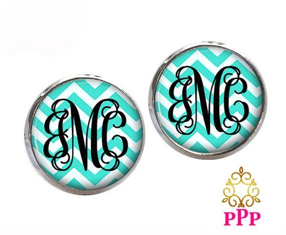 Monogram  Earrings, Chevron Aqua Blue White, Personalized Earrings  (384)
