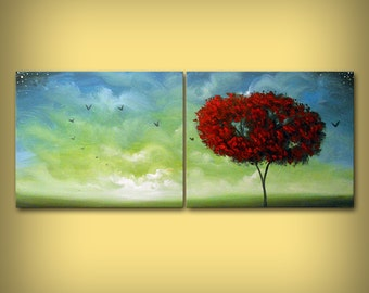 red tree blue sky painting, abstract painting, wall art, wall decor, large wall hanging, original painting, art, acrylic painting 16 x 40
