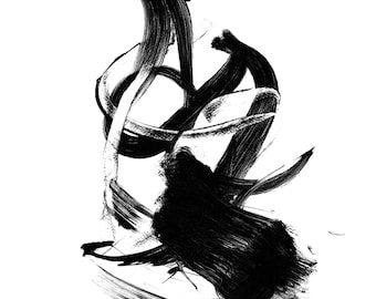 Abstract Art Giclée print - multiple sizes. Monochrome. Limited to 200 printings.