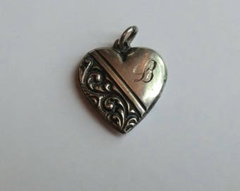 Victorian Sterling Heart Charm Scrolls Engraved Monogram Initial L Small Pendant