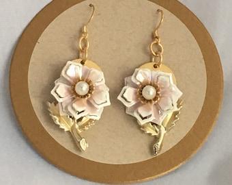 Vintage clip to Pierced Earrings: Blush Pink Enamel Flowers