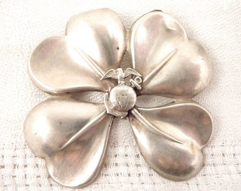 Vintage WWII Sterling Navy Sweetheart Four Leaf Clover Brooch