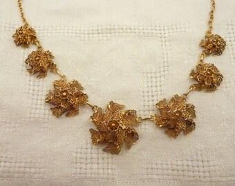 Vintage Gilt Sterling Silver Flower Filigree Necklace