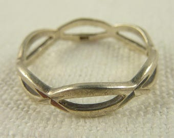 Size 8.5 Vintage Sterling Braided Band Ring
