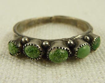 Size 8.25 Antique Native American Handemade Green Turquoise Ring