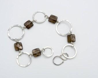 Faceted smoky quartz bracelet