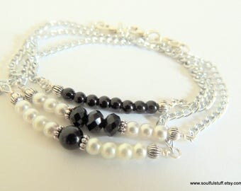 Onyx and Pearl Bar Bracelet, Separately or as a Set of Three, Handcrafted Jewelry, Minimalist Bracelet, Black and White, Gemstone Gift Set