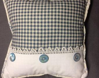 Blue Check  and Vintage Lace Pillow, Vintage Button, Ralph Lauren Blue Rose Linen backing, So PaRiS ApArTmEnT