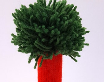Wine Bottle Cover - Recycled wool sweaters -Dr. Seuss inspired Red with Green Pom Pom