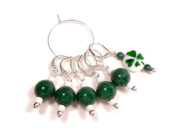 Removable Shamrock Stitch Marker Set Crochet Row Markers Emerald Green Locking Knitting Supplies DIY Crafts St. Patrick's Gift for Crochet
