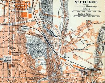 1926 Vintage Map of St Etienne, France - Vintage City Map - Old City Map