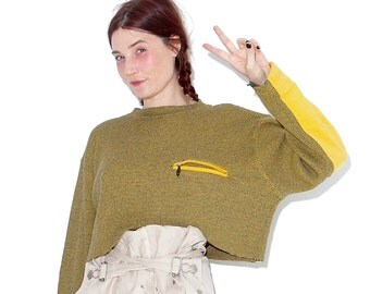 90s knit sweater crop top / cropped sweater oversized boyfriend sweater with raw hem and coolest sleeve patches 90s clothing 90s grunge