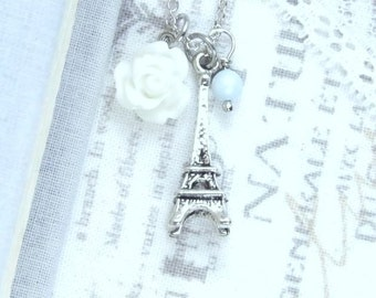 Paris Necklace Eiffel Tower Necklace Shabby Chic Necklace Travel Necklace Eiffel Tower Jewelry Paris Gift